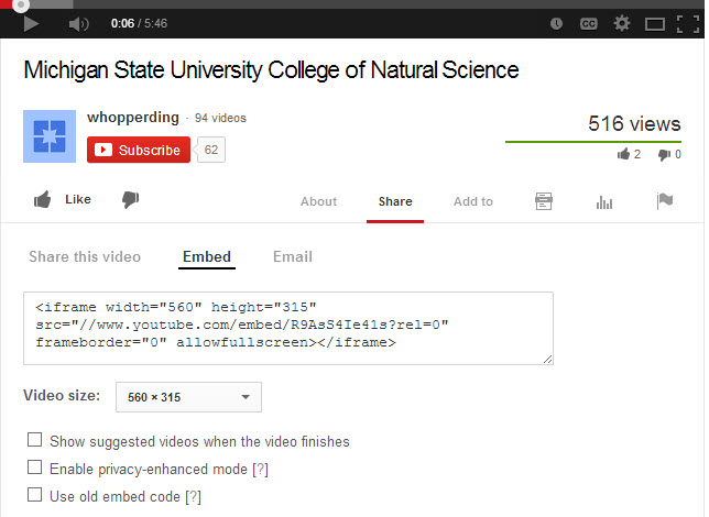 Selecting YouTube embed code from videos main YouTube page.