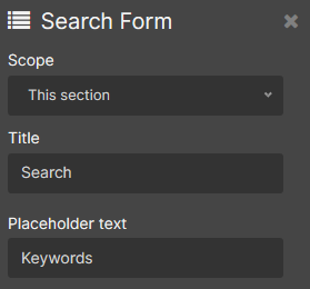 search form display object parameters