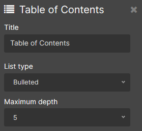 table of contents display object parameters